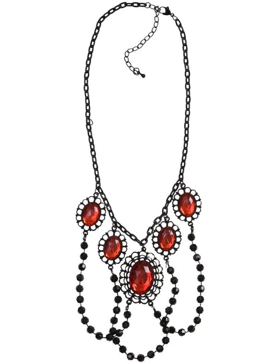 Collar de perlas negras con piedras rojas para mujer