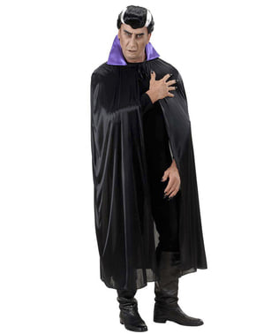 Svart cape med purpurfärgad sammetskrage Vuxen