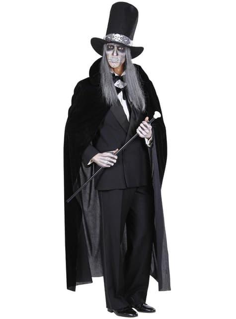 Capa negra de terciopelo para hombre