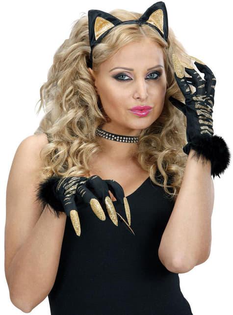 Tigerhandsker med negle og glimmer til kvinder