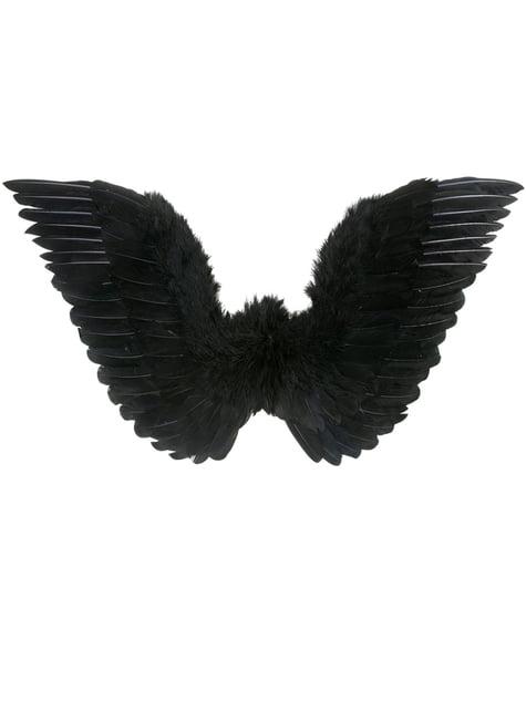 Alas negras con plumas para mujer