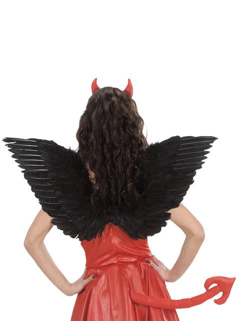 Ailes noires avec plumes femme