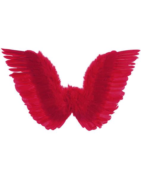 Alas rojas con plumas para mujer