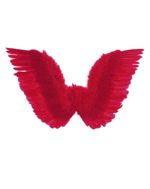 Røde vinger med fjær til dame