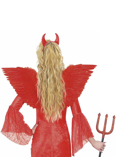 Alas rojas con plumas para mujer - original