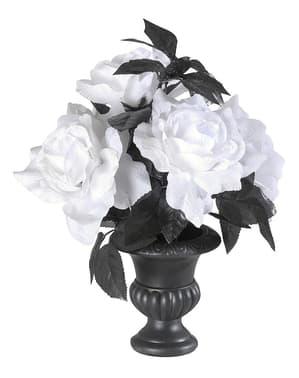 Florero con 6 rosas blancas con luces multicolores