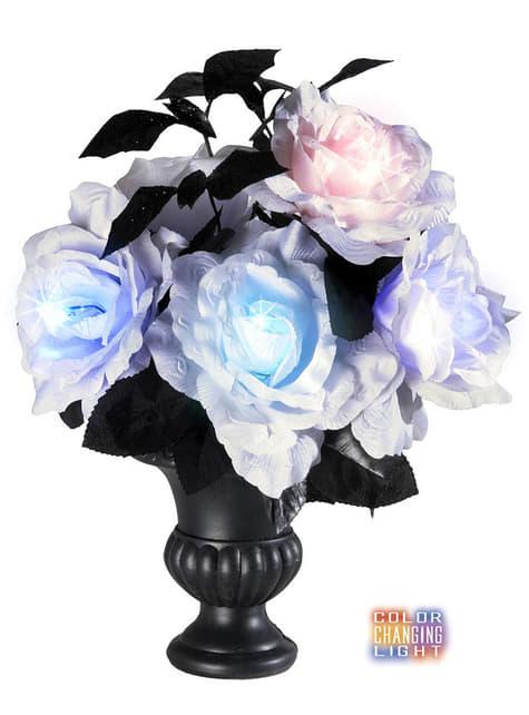 Florero con 6 rosas blancas con luces multicolores - para tus fiestas