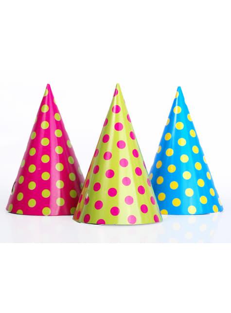 6 chapeaux à pois en carton