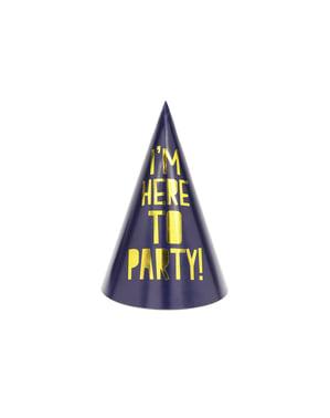 Zestaw 6 papierowe czapeczki imprezowe różne wzory - Happy New Year