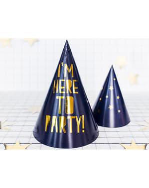 Papierhüte Set 6-teilig blau mit goldener Schrift - Happy New Year