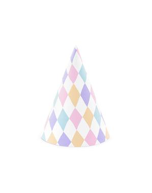 Sett med 6 Papir Festhatter med Diamanter - Enhjørning