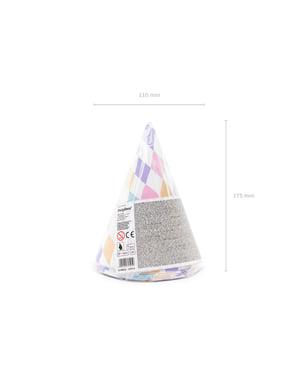 Papierhüte Set 6-teilig mit Rauten - Unicorn