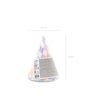 6 Paper Party Hats with Diamonds - Unicorn
