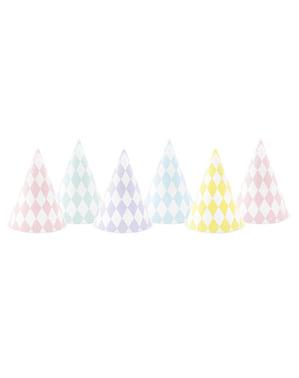 Set 6 Topi Parti Kertas dengan Berlian - Yummy