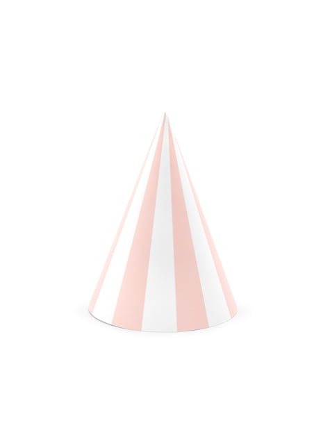6 gorritos de rayas de papel - Meow Party