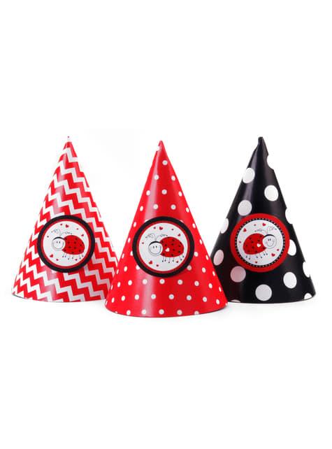 6 cappellini con coccinelle di carta