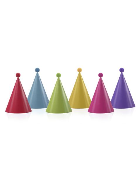 6 cappellini assortiti con pompon di carta