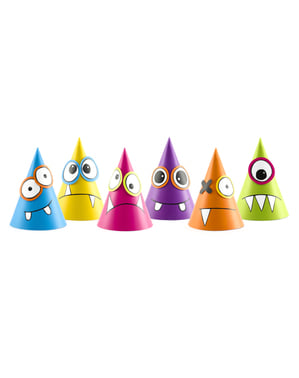 Papierhüte Set 6-teilig mit Monstern - Monsters Party