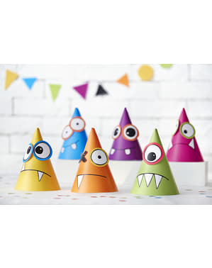6 chapeaux monstres en carton - Monsters Party