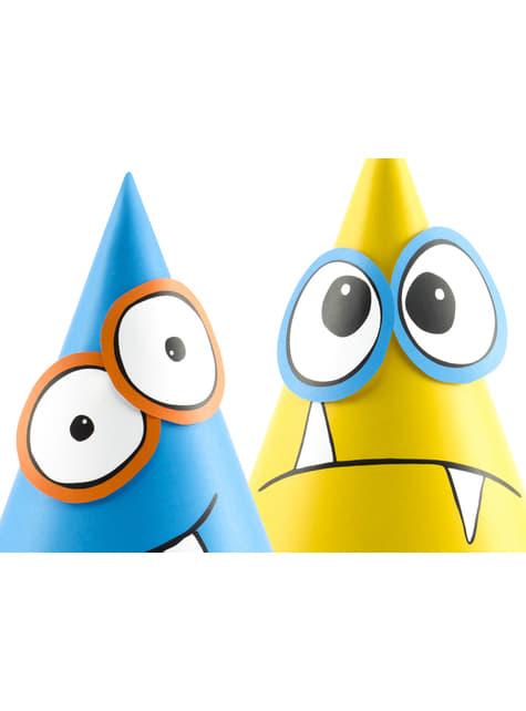 6 cappellini assortiti con mostri di carta - Monsters Party