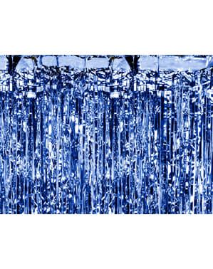 Metallic blauw kwastjes gordijn