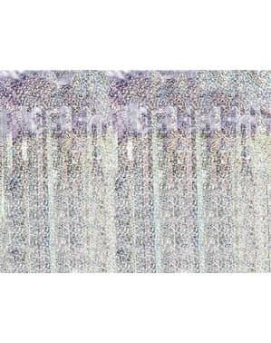 Cortina de flecos color holográfico de 2,5 m