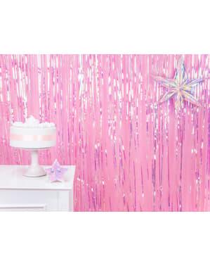 Iriserende dusk gardin med mål på 2.5 m