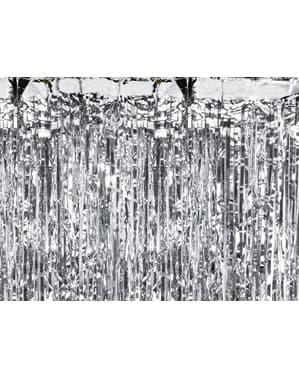 Cortina de flecos color plata de 2,5 m
