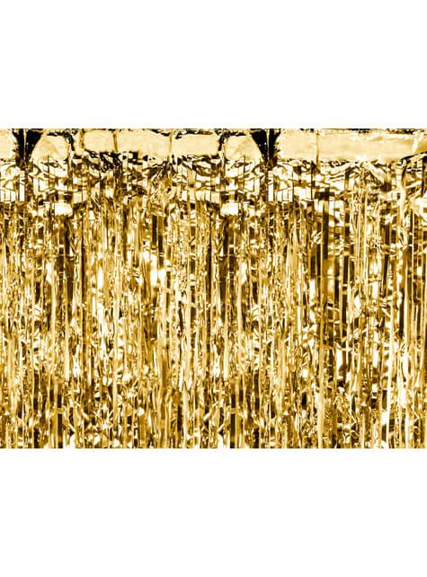 Cortina de flecos color dorado de 2,5 m