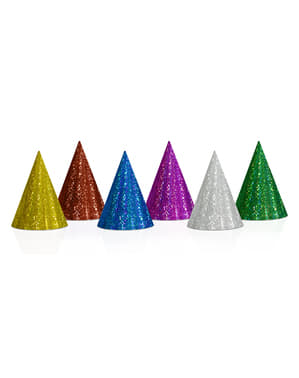 20 Assorted Holographic Party Hats - Holographic