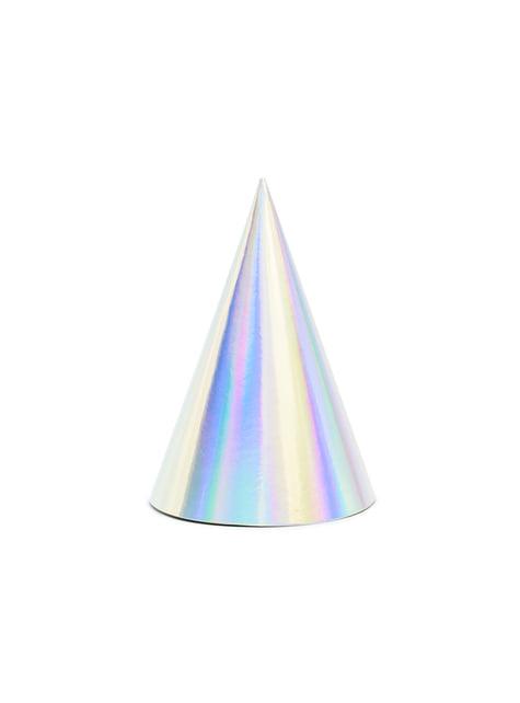6 gorritos iridiscentes de papel - Exotix Holo