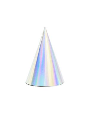 Papierhüte Set 6-teilig in Regenbogenfarben - Exotix Holo