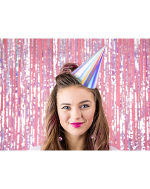 6 Iridescent Paper Party Hats - Exotix Holo