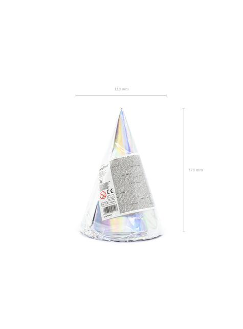 6 chapeaux iridescents en carton - Exotix Holo