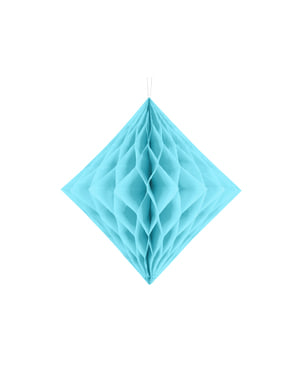 Hanging decoration made of honeycomb paper in  turquoise blue measuring 30 cm