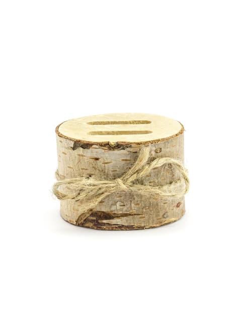 Porta alianzas tronco de madera con lazo de rafia - Rustic Wedding - para tus fiestas