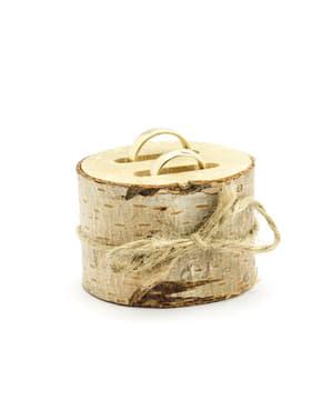 Port verighete trunchi de lemn cu fundiță de rafie - Rustic Wedding