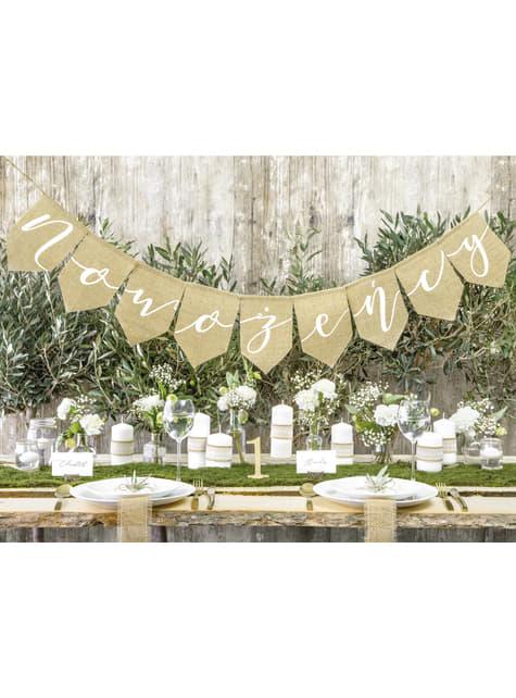 Porta alianzas tronco de madera con lazo de rafia - Rustic Wedding - para niños y adultos