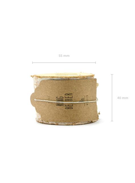 Porta alianzas tronco de madera con lazo de rafia - Rustic Wedding
