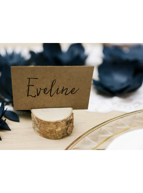 Set of 6 Wooden Place Card Holders - Rustic Wedding