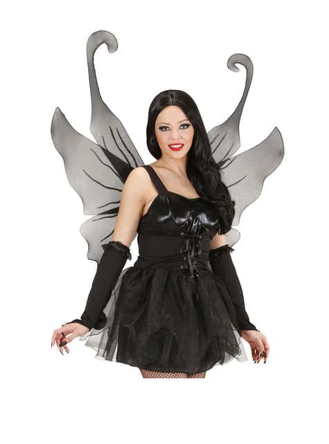Женские блестящие черные крылья макси
