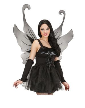 Maxi zwarte vleugels met glitters voor vrouw