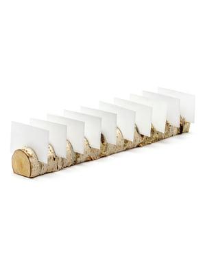 Set van 10 houten naamkaart houders - Rustieke Bruiloft
