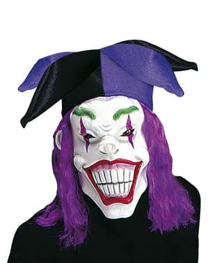 Máscara de arlequim macabro com peruca e gorro para homem