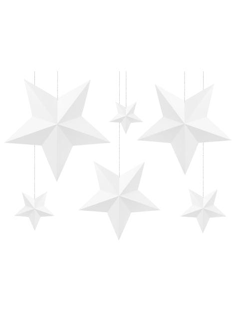 6 estrellas colgantes variadas blancas - Christmas