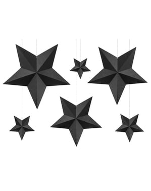6 Assorted Hanging Star Decorations, Black - Christmas