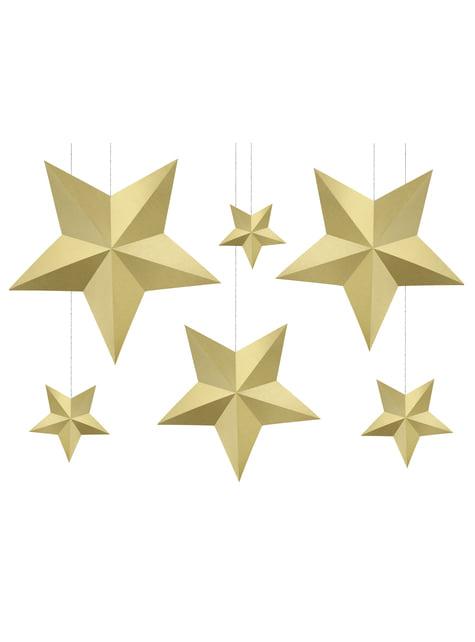 6 estrellas colgantes variadas doradas - Christmas