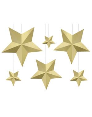 6 geassorteerde hangende ster decoraties, goud - Kerstmis