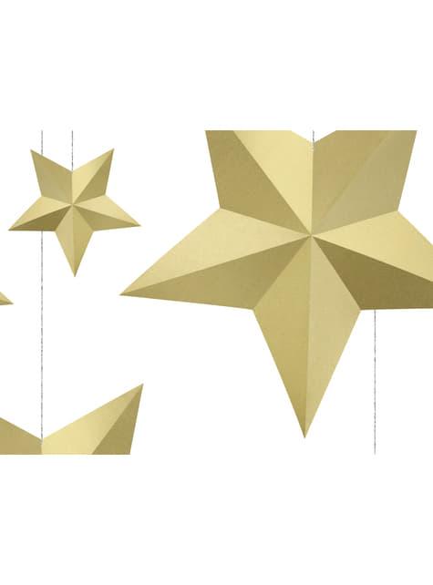 6 estrellas colgantes variadas doradas - Christmas - para tus fiestas