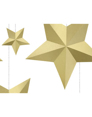 6 Assorted Hanging Star Decorations, Gold - Christmas